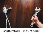 old faucet and adjustable... | Shutterstock . vector #1150754300