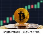 bitcoin btc on stack of... | Shutterstock . vector #1150754786