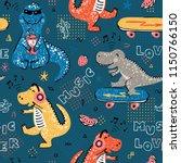 music lover dinosaur seamless... | Shutterstock .eps vector #1150766150
