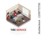 tire service workshop interior... | Shutterstock .eps vector #1150772720