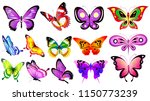 beautiful color butterflies set ...   Shutterstock .eps vector #1150773239