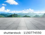 clean square floor and mountain ... | Shutterstock . vector #1150774550