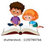 children reading a giant book...   Shutterstock .eps vector #1150780766