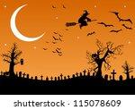 halloween cemetery   Shutterstock .eps vector #115078609