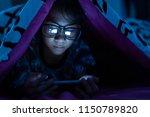 girl wear glasses using mobile...   Shutterstock . vector #1150789820