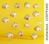 cup cakes floating on yellow... | Shutterstock . vector #1150791443