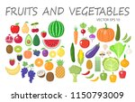 colorful fruits and vegetables... | Shutterstock .eps vector #1150793009
