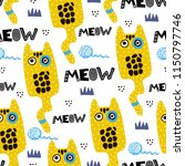 pattern with cartoon cats...   Shutterstock .eps vector #1150797746