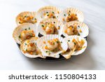 grilled scallops shell with... | Shutterstock . vector #1150804133