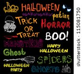 set of vector halloween hand... | Shutterstock .eps vector #115081750