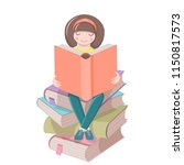 cute girl is sitting on a pile... | Shutterstock .eps vector #1150817573