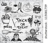 set of vector halloween hand... | Shutterstock .eps vector #115081759