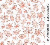 seamless vector doodle leaves... | Shutterstock .eps vector #1150820360