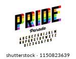 rainbow flag colors font ... | Shutterstock .eps vector #1150823639