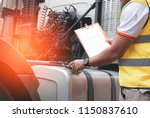 inspecting truck safety.the... | Shutterstock . vector #1150837610