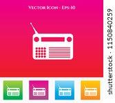 radio icon in colored square... | Shutterstock .eps vector #1150840259