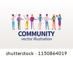community concept. young modern ... | Shutterstock .eps vector #1150864019