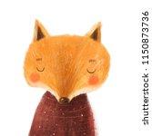 christmas cartoon animals.... | Shutterstock . vector #1150873736