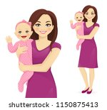 young woman mother holding her... | Shutterstock .eps vector #1150875413
