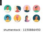 bright people portraits set  ... | Shutterstock .eps vector #1150886450