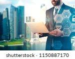 handsome european businessman... | Shutterstock . vector #1150887170