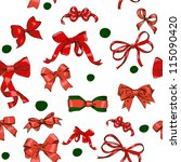seamless texture with red bows  ... | Shutterstock .eps vector #115090420