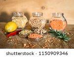 raw cereals set on wooden...   Shutterstock . vector #1150909346
