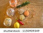 raw cereals set on wooden...   Shutterstock . vector #1150909349