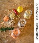 raw cereals set on wooden...   Shutterstock . vector #1150909370