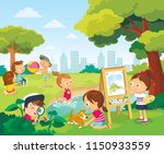 children having fun. little... | Shutterstock .eps vector #1150933559