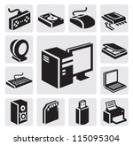 vector black computer icon set...