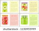 preserved green olives labeled... | Shutterstock .eps vector #1150955999