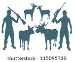 Hunter and deer vector background set