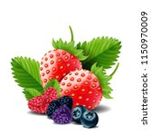 sweet berries mix isolated on... | Shutterstock .eps vector #1150970009