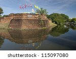 Ancient fortress and moat in chiang mai - stock photo
