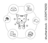 vector of character cat and... | Shutterstock .eps vector #1150974050