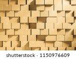 wall made of closed cardboard... | Shutterstock . vector #1150976609