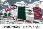 g20 mexico flag silk waving... | Shutterstock . vector #1150976720