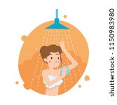 beautiful girl washes body in... | Shutterstock .eps vector #1150983980
