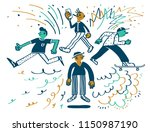 cool kids  youth  youngsters. | Shutterstock .eps vector #1150987190