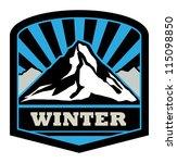 winter mountain sticker  vector ...