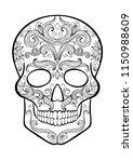sugar skull  coloring page | Shutterstock .eps vector #1150988609