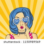 woman says omg in retro comic...   Shutterstock .eps vector #1150989569