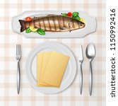 vector illustration of grilled... | Shutterstock .eps vector #1150992416