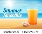 fruit smoothie on summer beach. | Shutterstock .eps vector #1150993079