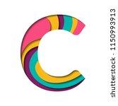 paper cut letter c. realistic... | Shutterstock .eps vector #1150993913