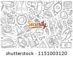 hand drawn security related... | Shutterstock .eps vector #1151003120