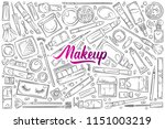 hand drawn make up supplies. | Shutterstock .eps vector #1151003219
