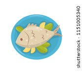 grilled fish with pieces of... | Shutterstock .eps vector #1151005340