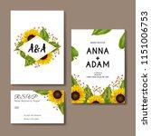 sunflowers wedding invitation... | Shutterstock .eps vector #1151006753